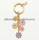 fashion enamel flower charm keyring, custom charm key chain jewelry, fashion gold jewelry