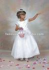 Lovely ankle length white satin flower girl dress