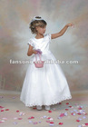 Lovely ankle length white satin flower girl dress