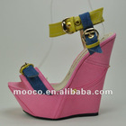 sexy high wedge heel sandals.popular fashion pink sandal shoes 2012