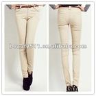 2012 wholesale light yellow women's skinny pants CAP048