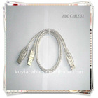 USB cable USB 2.0 3A Cable 2 in 1 USB 2.0 A to A 3A Male Power/Data Y Cable FOR HARD DISK DRIVER