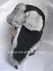 BY-R-H556 Rabbit Fur Winter Bomber Hat, Rabbit Hat, Aviator Hat