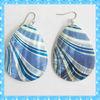DKE137 round stripe shell earrings