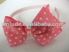 pink ribbon with white dots hairband for girls