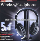 5 in 1 HIFI wireless earplug headphonesEarphone Headset wireless Monitor FM radio for MP4 PC TV audio