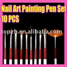 124 Fast Shipping Wholesales Price Nail Art 10 Design Painting Pen Brush
