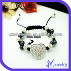 2012 Good Quality Heart Shaped Shamballa Wholesale Crystal Bracelet Meaning