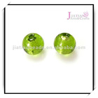 round glass beads with silver foil