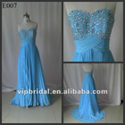 Elegant sweetheart with beaded floor length blue evening dress