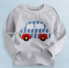 2T-6T children applique design grey long sleeve t-shirt, 100% cotton cheap kid clothing supplier