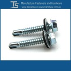 hex flange head self drilling screw with steel and EPDM washer
