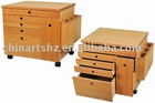 Mobile Wooden Cabinet with Drawers