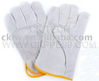 cow split Leather working gloves with lining