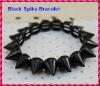 2012 Hot Sale Jet Black Punk Style Spike Hedgehog Rivet Bracelet, Fashion Stretch Adjustable Rivet Spike Bracelet