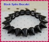 2012 Hot Sale Jet Black Punk Style Spike Hedgehog Rivet Bracelet, Fashion Stretch Adjustable Rivet Spike Bracelet