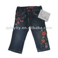 2012 children's denim jeans with beautiful embroidery
