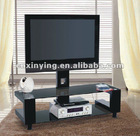 2012 modern black glass and metal LCD tv stand