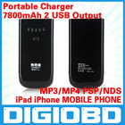 7800mAh portable power bank 2 USB Output for iPad Samsung p1000 iPhone MOBILE PHONE MP3 MP4 PSP NDS Mobile Power