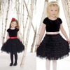 Velvet and tulle knee-length A-line Dress with tiers of ruffled tulle and taffeta waistband Cute Children Pary Dresses GD106