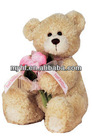Lovely sitting baby bear plush stuffed toys with flowers