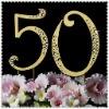 """Anniversary rhinestone cake topper number """"50"""""""