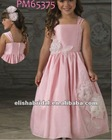 Pink/Ivory Tea Length Tank Straps Gathered Skirt Taffeta One Piece Girls Party Dresses