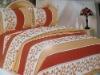 different sateen stripe orange and white mixed 100% cotton bedding set