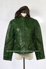 lady leather jacket, knitted hood, CF zip, bottom pocket with zip, chest pocket