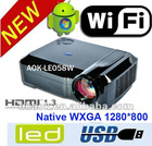 New Android WIFI LED+LCD Projector With PC projector 1280*800, Support 720p,1080i,1080p Built-in WiFi wireless network