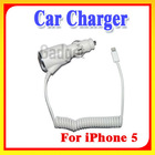 Latest !! White USB port Car charger Adapter 1000mAH for iPhone 5