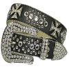 New western rhinestone leather belt