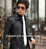 Shoulder Mark Decorated Men Single-Breasted Long Coat Black SW12092623