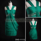 Sexy DNS-11112 Green Spaghetti Strap Sleeveless Beaded Sheath Short-Length Silk Chiffon Party Gowns Cocktail Dresses