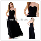 hottest sweetheart homecoming long black chiffon kids strapless dresses