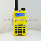 Yellow cost-efficient Baofeng Dual Band 5W 128CH UHF VHF Two way radio Interphone