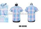KM-S0100 casual pocket check mens Mercerized cotton shirt kosmo.lupo shirt