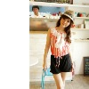 BF8127 lady colorful summer navy style stripe short jumpsuit (red)