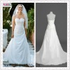 1120-1hs Hot Selling Fashion Off-shoulder Beautiful Floor-length Banded strapless white satin cheap wedding dress