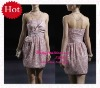 Newest arrival Satin Beading short and elegant pick-up skirt cocktail dres