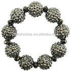 fashion jewerly hematite stretch 16mm shamballa crystal ball bracelet