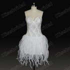 2012 Hot Sale Sweetheart Beaded and Crystals Organza Sexy Mini Short Cocktail Party Dresses