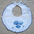 Sea shell design embroidery white cotton baby bib