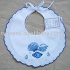 Sea shell design embroidery white cotton baby bib