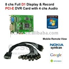 8 chs Video, 4 chs Audio, PCI-E D1 DVR Card