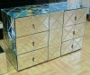 Silver mirror covered MDF 6 drawers livingroom wall cabinet