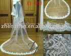 2011 long style, customized one layer, tulle with lace applique bridal veil RV-003