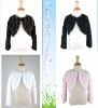Elegant Faux Fur Rosette Bolero Jacket With Long Sleeve