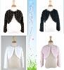 Elegant Faux Fur Rosette Bolero Jacket With Long Sleeve
