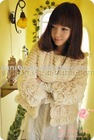 YR-036 genuine rabbit fur jacket with handwork rose flowers